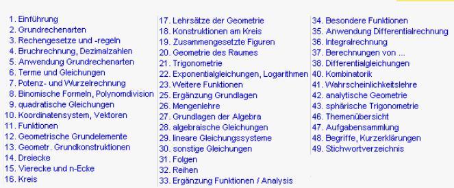 Mathematik im Gymnasium von Klasse 5 bis 13